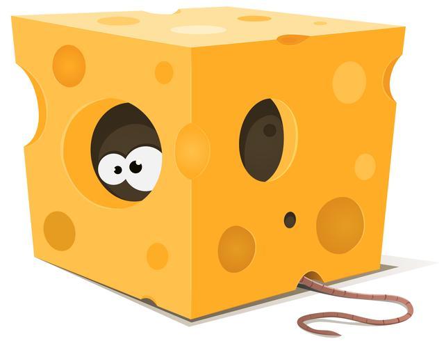 Mouse olhos dentro pedaço de queijo vetor