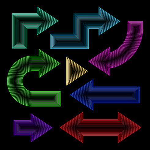Conjunto de setas, efeito neon, ilustração vetorial vetor