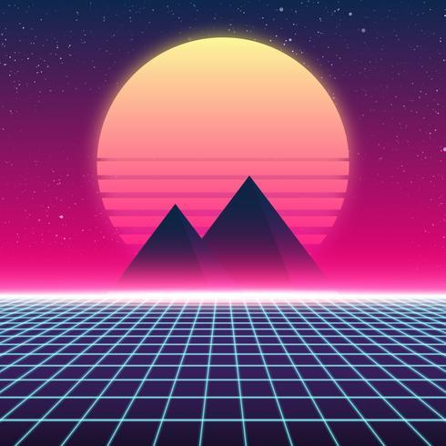 Design retro Synthwave, pirâmides e sol, ilustração vetor