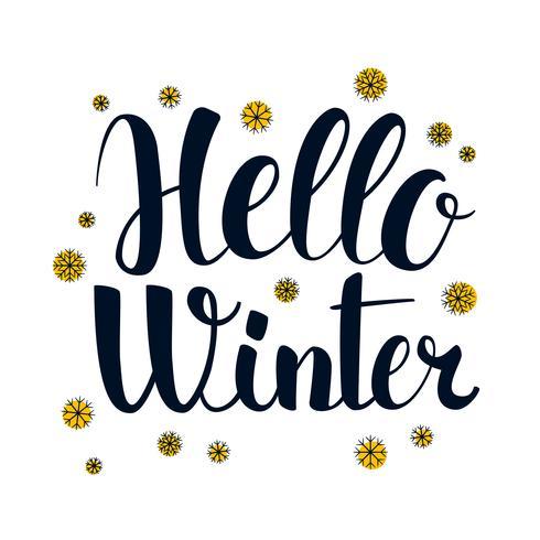 Olá inverno, design de bandeira de temporada de caligrafia, ilustração vetor