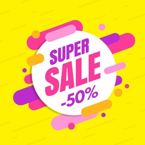 Super venda banner, design colorido e brincalhão vetor