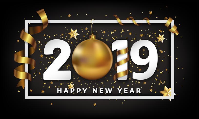 Ano novo fundo tipográfico 2019 com elementos de bugiganga e listras de bola de ouro de Natal vetor