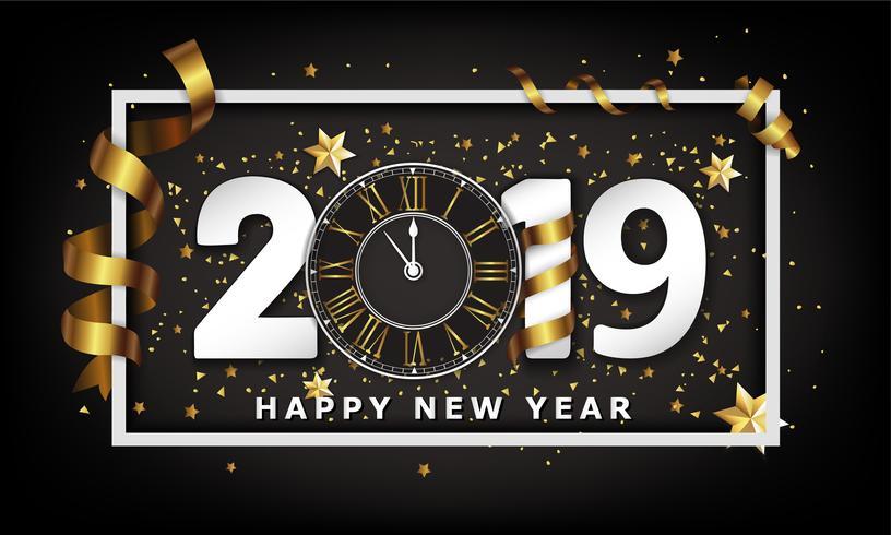 Ano novo tipográfico fundo criativo 2019 com relógio vetor