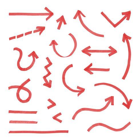 Conjunto de setas de mão desenhada vermelho vetor