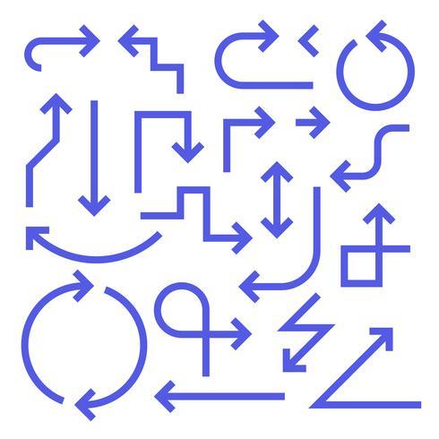 Conjunto de setas simples, cor azul vetor