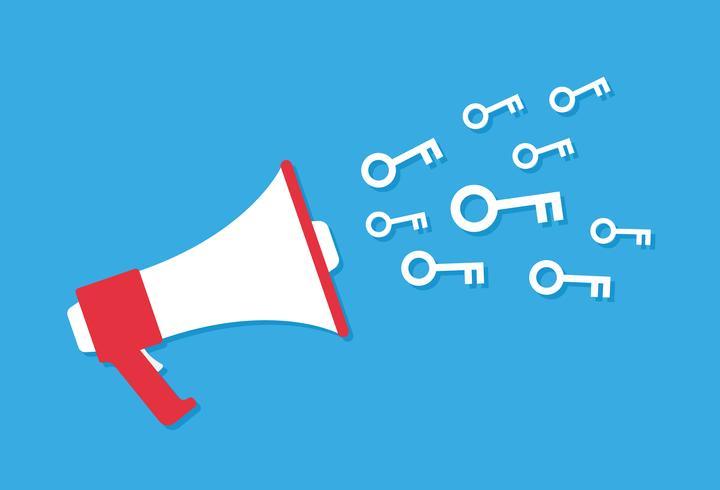 Estilo de ícone de megafone dos desenhos animados, conceito de marketing vetor