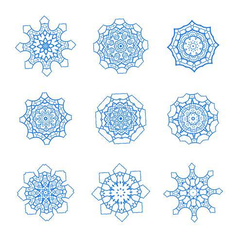 Símbolos de vetor de floco de neve, conjunto de ícones de neve de Natal