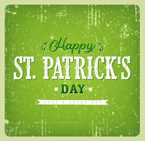 Cartão do vintage do dia de St Patrick feliz vetor