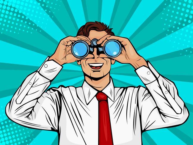 Empresário, olhando através de binóculos. Homem surpreendido com a boca aberta. Fundo colorido do vetor no estilo cômico retro do pop art.