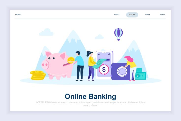 Conceito de design plano moderno de banca on-line vetor