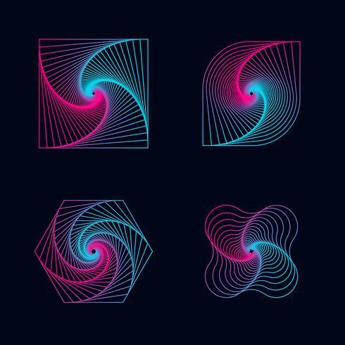 Linha de gradiente espiral projeta elementos vetor