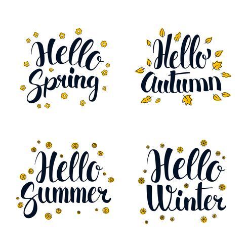 Olá primavera, verão, outono e inverno. Design de banner de temporada de caligrafia vetor