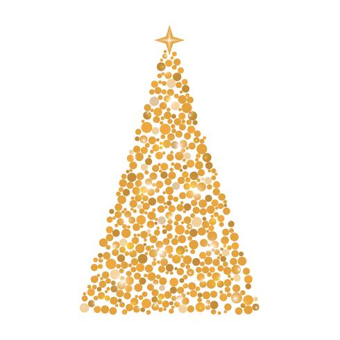 Círculos de árvore de Natal, cartão de Natal, ilustração vetor