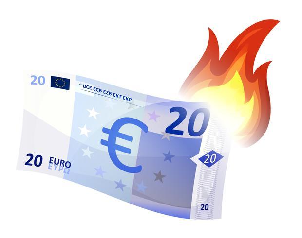 queima de notas de euro vetor