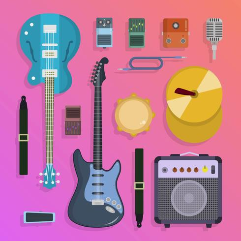 Instrumentos Musicais de rock liso, ilustração vetorial de Knolling vetor