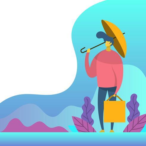 Apartamento moderno menino está segurando a ilustração vetorial de guarda-chuva amarelo vetor