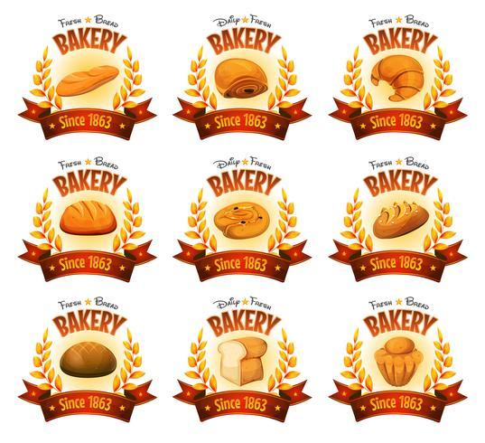 Banners de loja de padaria com pães e bolos vetor
