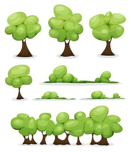 Árvores Dos Desenhos Animados, Hedges E Conjunto De Folhas De Bush vetor
