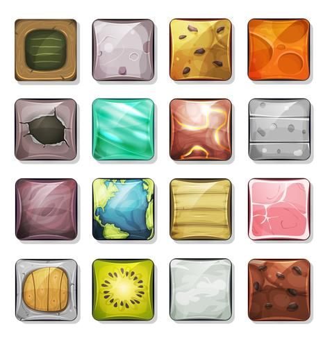 Botões e ícones para aplicativo móvel e jogo Ui vetor