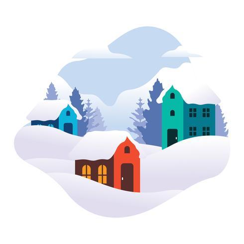Ilustração vetorial de vila de inverno vetor