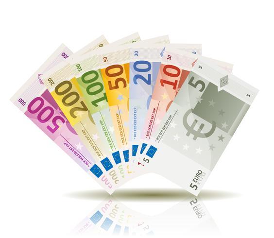 Conjunto de notas de dinheiro do Euro vetor
