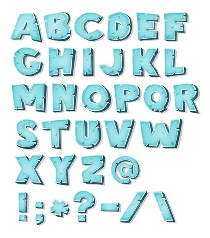 Alfabeto de gelo dos desenhos animados vetor