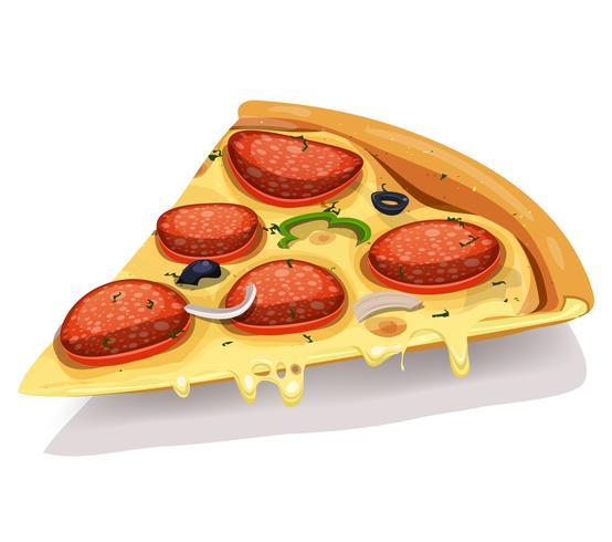 parte de pizza de queijo calabresa vetor