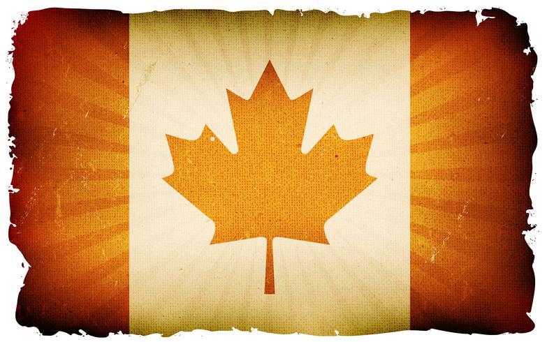 Vindima, canadá, bandeira, cartaz, fundo vetor