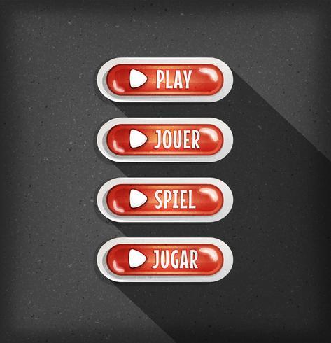 Jogar Botões Design Em Vários Idiomas Para Game Ui vetor