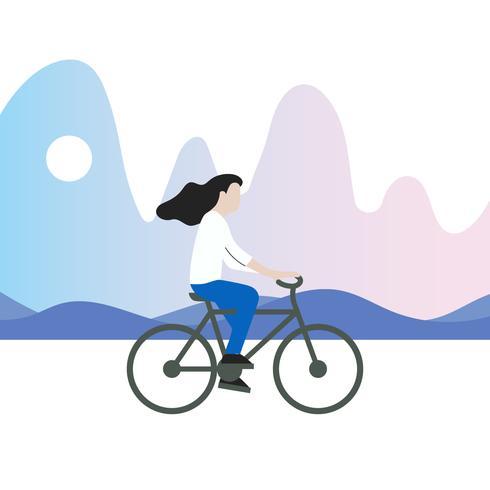 Ilustração vetorial de bicicleta de equitação vetor