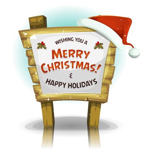 Chapéu de Papai Noel no sinal de madeira engraçado vetor