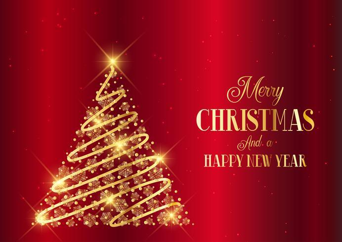 Fundo de árvore de Natal de ouro vetor