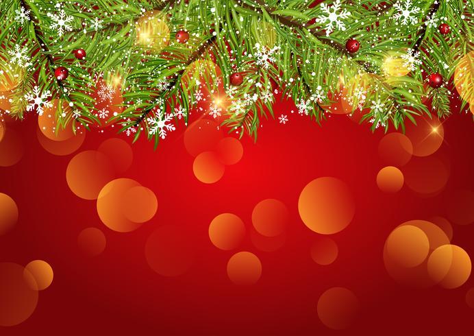 Fundo de Natal com flocos de neve e luzes de bokeh vetor