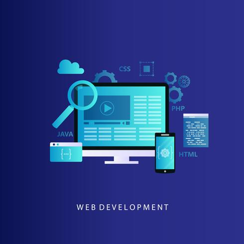 Ilustração em vetor conceito desenvolvimento site