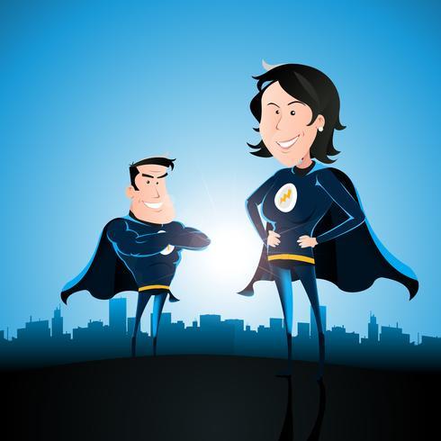 Casal de super-herói com mulher e homem vetor