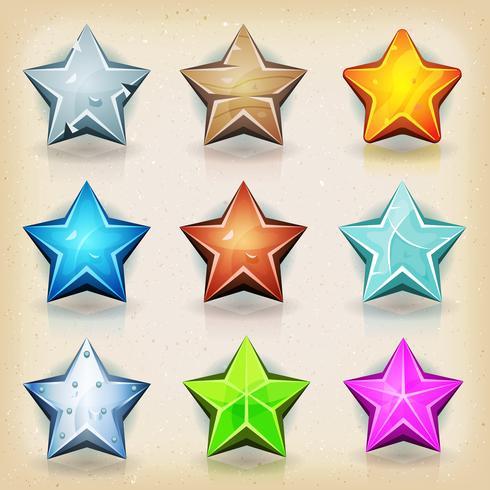 Ícones engraçados de estrelas para o jogo Ui vetor