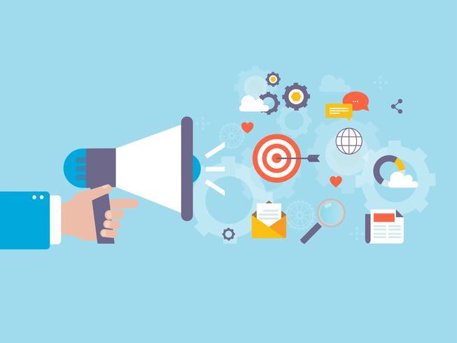 Campanha de marketing online, promoção de conteúdo digital e marketing vetor