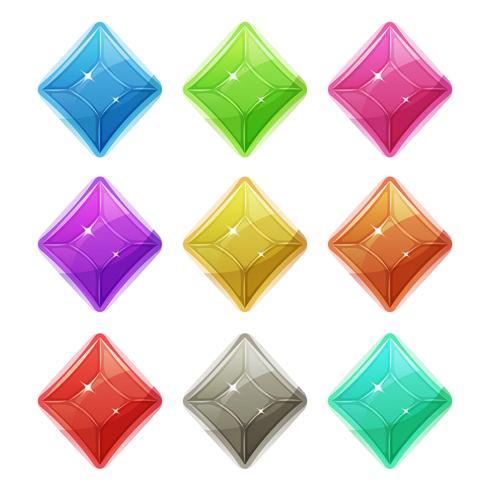 Gemas, cristal e ícones de diamantes para interface do jogo vetor
