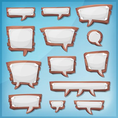 Bolhas do discurso de madeira dos desenhos animados para o jogo de interface do usuário vetor