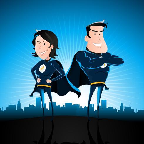 Homem e mulher de super-herói azul vetor