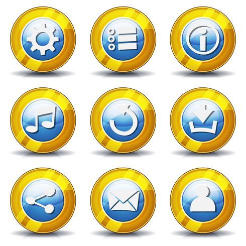 Ícones de ouro para o jogo de interface do usuário vetor