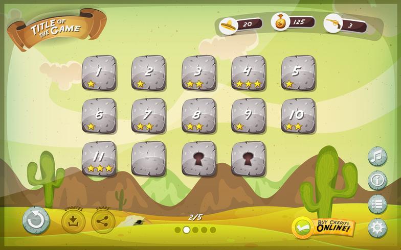 Projeto de interface de usuário do jogo do deserto para a tabuleta vetor