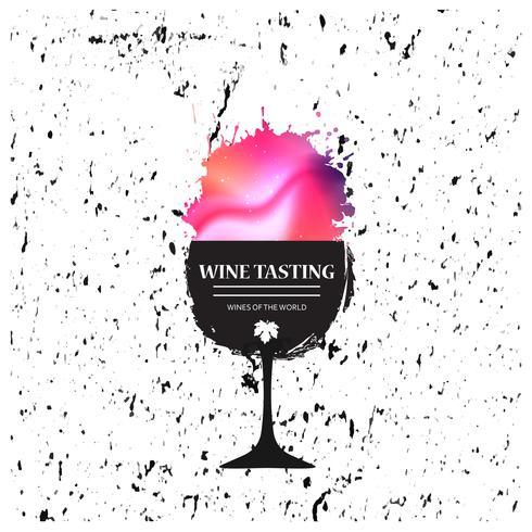 Banner de promoção de copo de vinho para evento de degustação de vinhos vetor