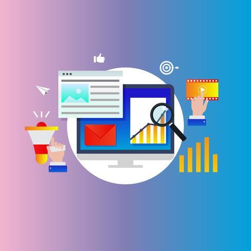 Agência de marketing digital, promoção on-line, campanha de mídia social, ilustração em vetor cor gradiente de publicidade na internet