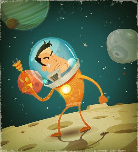 Herói de astronauta em quadrinhos vetor