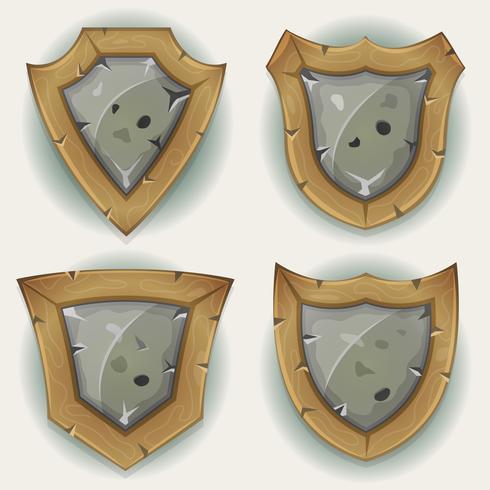 Ícones de segurança de escudo de pedra e madeira vetor