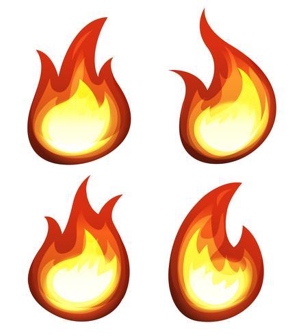 Fogo dos desenhos animados e conjunto de chamas vetor