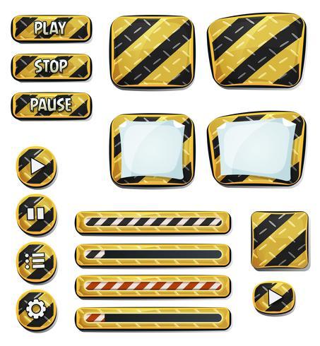 Ícones de aviso e elementos para o jogo de interface do usuário vetor