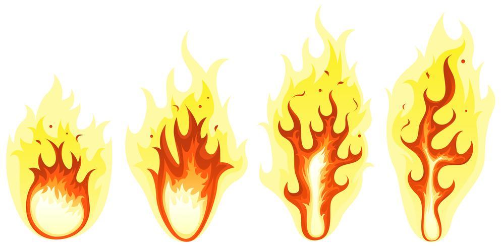 fogo de desenhos animados e conjunto de chamas ardentes vetor
