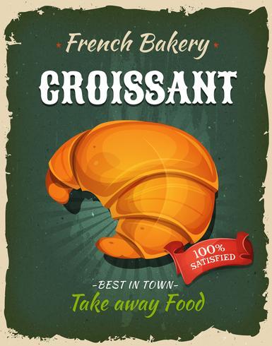 Poster retro do Croissant francês vetor